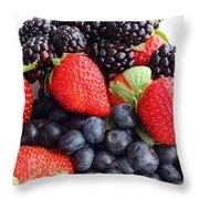 Three Fruit Closeup - Strawberries - Blueberries - Blackberries Throw Pillow by Barbara Griffin