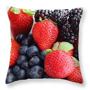 Three Fruit - Strawberries - Blueberries - Blackberries Throw Pillow by Barbara Griffin