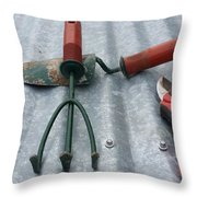 Three Garden Tools Throw Pillow