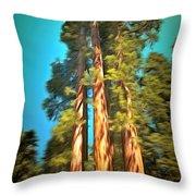 Three Giant Sequoias Digital Throw Pillow