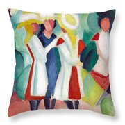 Three Girls With Yellow Hats Throw Pillow