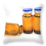 Three Glass Bottles With Medicine Throw Pillow