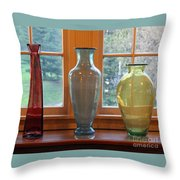 Three Glass Vases In A Window Throw Pillow