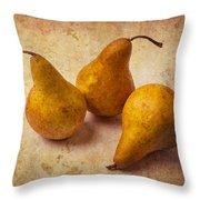 Three Golden Pears Throw Pillow