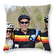 Three Gran Fondo Riders Throw Pillow