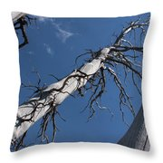 Three Gray Trees Throw Pillow