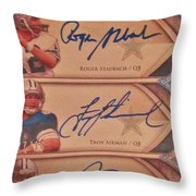 Three Great Dallas Cowboys Quarterbacks Throw Pillow