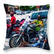 Three Guys On Bikes Throw Pillow
