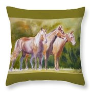 Three Horses Throw Pillow