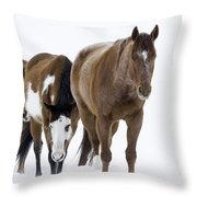 Three Horses Walking Through The Snow Throw Pillow by Carol Walker