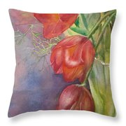 Three In A Vase Throw Pillow