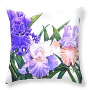 Three Irises Throw Pillow