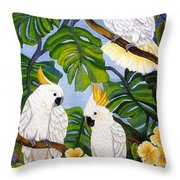 Three Is A Crowd Hand Embroidery Throw Pillow