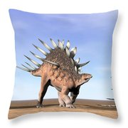 Three Kentrosaurus Dinosaurs Standing Throw Pillow by Elena Duvernay