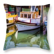 Three Little Boats Throw Pillow