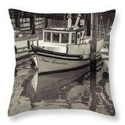 Three Little Boats Sepia Throw Pillow