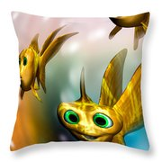 Three Little Fishies And A Mama Fishie Too Throw Pillow
