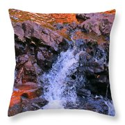 Three Little Forks In The Waterfall Throw Pillow