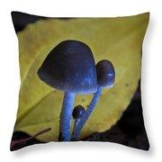 Three Little Mushrooms Throw Pillow