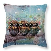 Three Little Night Owls Throw Pillow