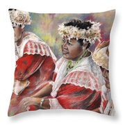 Three Mamas From Tahiti Throw Pillow