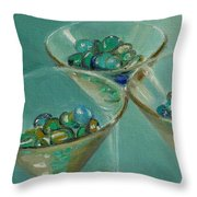 Three Martini Glasses With Jewels Throw Pillow