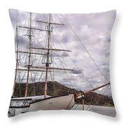 Three Mast Sail Boat Throw Pillow
