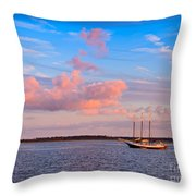 Three Masted Schooner At Anchor In The St Marys River Throw Pillow