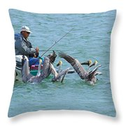 Three Men In A Boat Throw Pillow