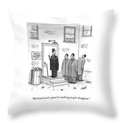 Three Mobsters Speak To A Magician Throw Pillow