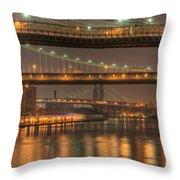 Three New York Bridges Throw Pillow