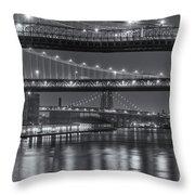 Three New York Bridges II Throw Pillow