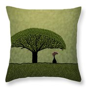 Three Of Green Throw Pillow