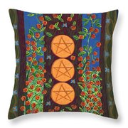 Three Of Pentacles Throw Pillow