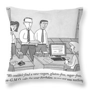 Three Office Workers Throw Pillow