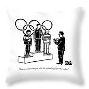 Three Olympic Athletes Stand On A Daius Throw Pillow