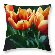 Three Orange And Red Tulips Throw Pillow