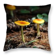 Three Orange Mushrooms Throw Pillow