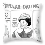 Three Panel Cartoon Of Online Dating Profiles Throw Pillow