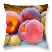 Three Peaches And Some Walnuts Throw Pillow