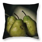 Three Pears Green Throw Pillow