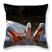 Three Pelicans And A Fish Throw Pillow
