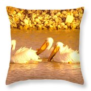 Three Pelicans Fishing Throw Pillow
