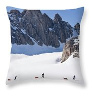 Three People Ski-tour On Karale Glacier Throw Pillow