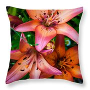 Three Pink Lilies Throw Pillow