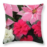 Three Pink Poinsettias Throw Pillow