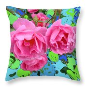 Three Pink Roses By M.l.d.moerings 2010 Throw Pillow