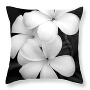 Three Plumeria Flowers In Black And White Throw Pillow