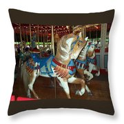 Three Ponies In White And Brown - Ct Throw Pillow