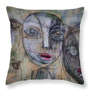 Three Portraits On Paper Throw Pillow